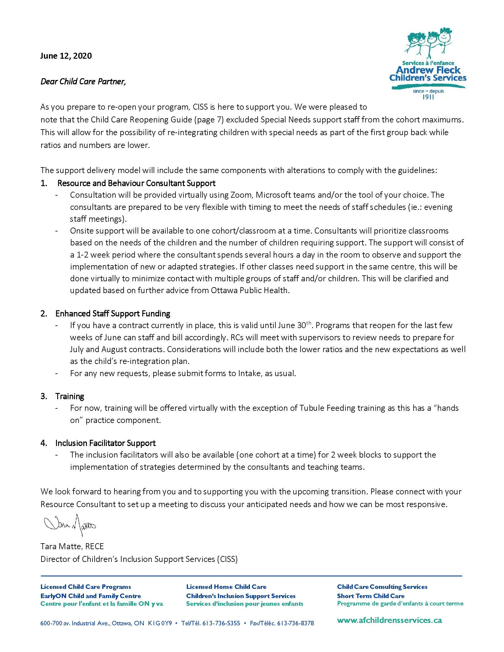 Letter - Child Care Partner - June 2020